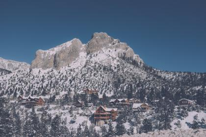 mountain, landscape, peak, summit, snow, trees, pines, houses, snow, view, aesthetic, rocks