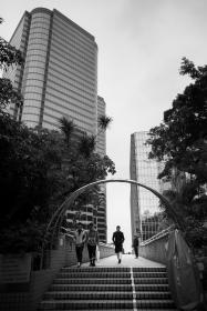architecture, building, infrastructure, black and white, sky, skyscraper, tower, landmark, city, urban, people, travel, outdoor, arch, stairs