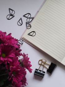 notepad,  paperclip,  flowers,  pink,  white,  minimal,  write,  read,  clip,  crafts,  business,  office,  desk