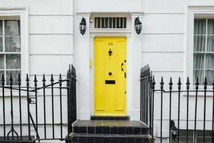 house, home, residence, steps, tiles, wrought, iron, steel, fence, whitewashed, walls, panels, windows, lamps, yellow, door