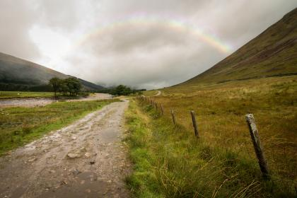 road, path, green, grass, nature, highland, grassland, mountain, sky, clouds, rainbow, wood, fence, tree, plant