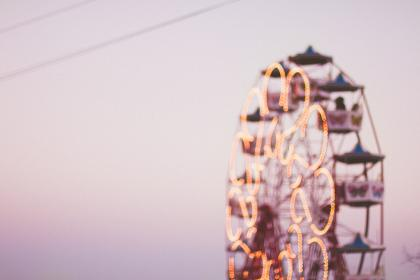 ferris wheel, amusement park, rides, fun, entertainment, sky, sunset, blurry, lights