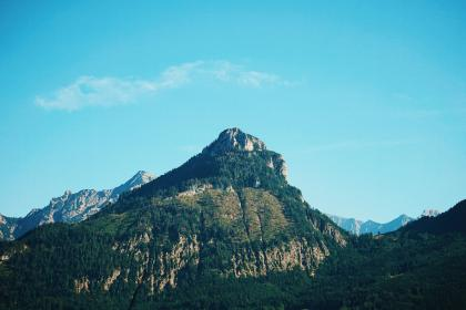 nature, landscape, mountains, summit, peaks, slope, lush, vegetation, trees, rocks, sky, clouds, blue, green