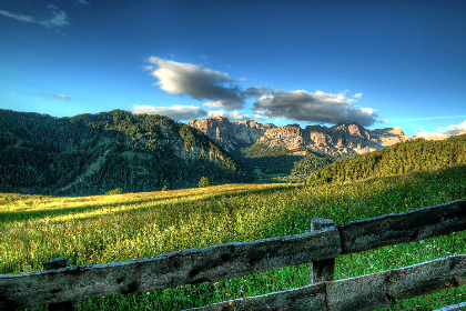 summer,  meadow,  landscape,  mountains,  dolomites,  sky,  hd wallpaper,  desktop wallpaper, sunshine, clouds, fence, field