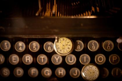 typewriter, letters, clock, time, vintage, oldschool