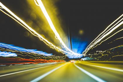 road, street, cars, lights, highway, night, evening, blurry, city, urban