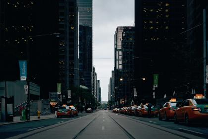 buildings, city, urban, architecture, skyscrapers, cars, taxi, cabs, road