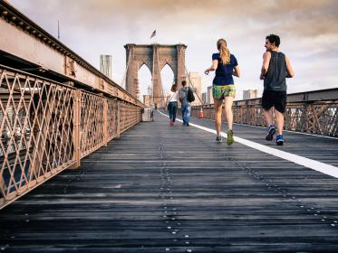 free photo of Brookly bridge  running