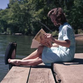 sunny, day, people, woman, sitting, reading, magazine, lake, water, relax, nature