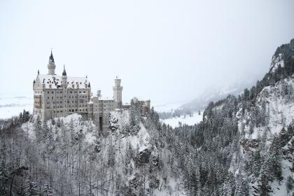 architecture, building, infrastructure, castle, mountain, landscape, view, outdoor, trees, plant, black and white, snow, winter