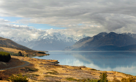 scenic,  mountain,  landscape,  lake,  water,  nature,  outdoors,  travel,  explore,  clouds,  road,  journey