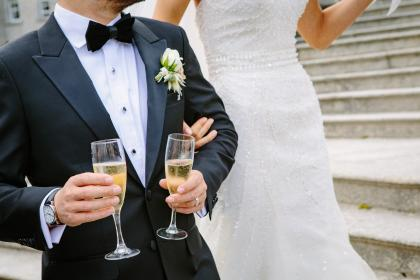 wedding, party, celebration, gown, suit, wine, glass, drink, bride, groom, marriage, people, man, woman