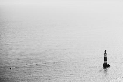 sea, ocean, water, waves, nature, boat, sailing, lighthouse, black and white