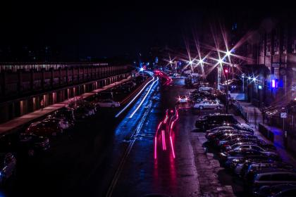 city, landscape, cityscape, buildings, night, lights, architecture, metro, parking, cars, vehicles, bulb, long, exposure