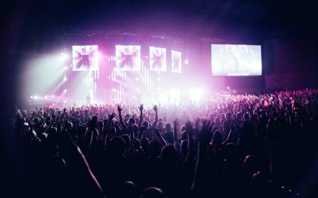 people, crowd, stage, spotlight, concert, stadium, lights, night, monitor, screen