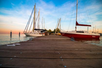still, items, things, yachts, boats, dock, pier, wood, water, ocean, sea, sky, clouds, clouds