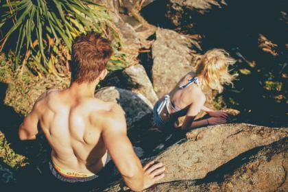guy, girl, climbing, hiking, trekking, fitness, exercise, people, rocks, swimsuits, bikini, muscles, sunshine, summer, friends, health