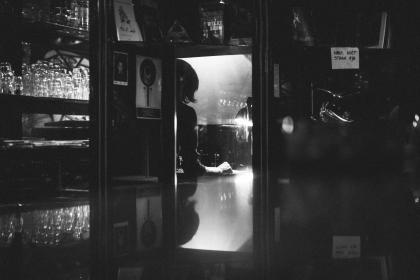 people, bar, monochrome, black and white, restaurant, glass, table, dark