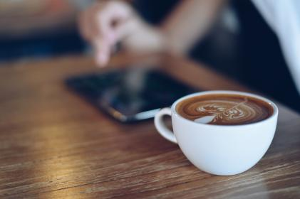 coffee, latte, art, coffee shop, cafe, cup, blur, wooden, table