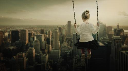 people, kid, child, baby, girl, cute, bun, urban, city, swing, building, establishment