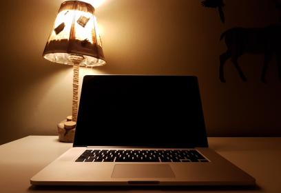 laptop, computer, gadget, modern, technology, electronics, research, work, business, table, desk, office, wall, lampshade, reflection, light