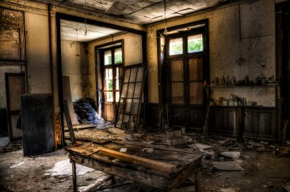 construction, renovation, demolition, abandoned, messy, dirty, walls, doors, windows, building