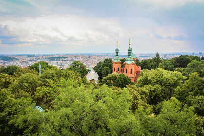 landscape,  trees,  synagoge,  view,  prague, sky, clouds, green, nature