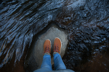 standing,  rock,  water,  shoes,  jeans,  blue,  river,  lake,  sea,  flow
