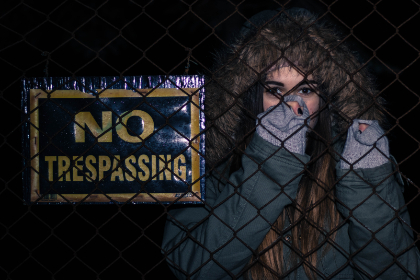 girl,  no trespassing,  sign,  typography,  text,  cold,  smile,  female,  woman,  jacket,  fashion
