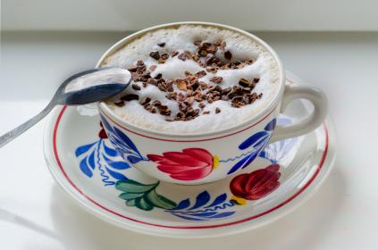 Boerenbont, cup, cappuccino, coffee, cocoa, sprinkles