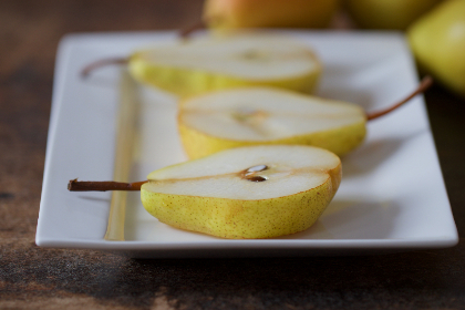 sliced,  pears,  fruit,  plate,  fresh,  half,  healthy,  snack,  cut,  table,  rustic,  food