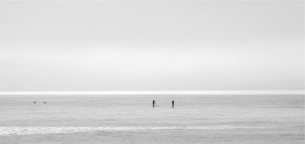 ocean, sea, horizon, sky, paddle boarding, black and white