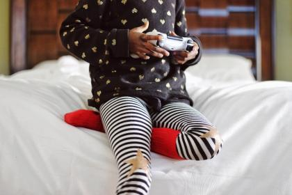 child, playing, games, bedroom, joystick, star, stripe, socks, bokeh, wooden