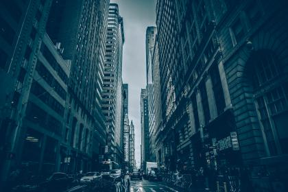 New York, city, buildings, architecture, streets, roads, cars, traffic, people, pedestrians, cloudy, downtown, NYC, urban