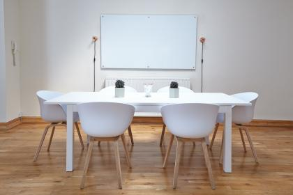Approved	interior, design, tables, chairs, white, wall, board, meeting, room, office, plant, flowerpot