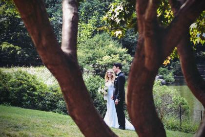 people, man, woman, couple, love, smile, happy, wedding, holding hand, tree, plant, green, grass, garden, nature, lake, water, marriage