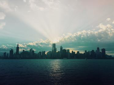 Chicago, cityskape, skyline, buildings, architecture, towers, high rises, skyscrapers, sunset, sky, clouds, water, urban