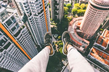 aerial, view, heights, shoes, sneakers, nike, legs, buildings, rooftops, towers, high rise, architecture, city, urban