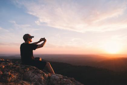 sunrise, sunset, mountain, highland, view, valley, landscape, nature, travel, outdoor, hill, summit, sky, people, man, guy, photographer, camera, travel, outdoor