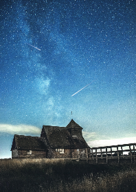 house,  starry,  sky,  space,  shooting stars,  dramtic,  powerful,  evening,  dusk,  blue,  universe,  galaxy