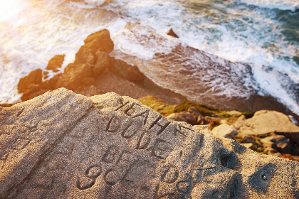 beack, shore, rocks, waves, vacation, tourism, travel, relax, sunlight, ocean, water, sea, road trip, carvings