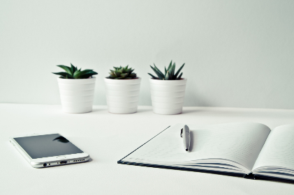 minimal,  white,  desk,  mobile phone,  device,  technology,  pot plant,  nature,  office,  business,  notepad,  notebook