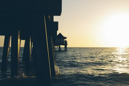 nature, water, ocean, sea, splash, sky, horizon, sunset, sunrise, dusk, dawn, cottage, stilts, support, structures, bridge