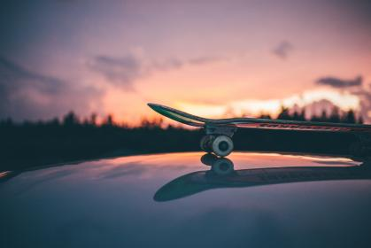 skateboard, games, reflection, mountain, trees, plants, sky, clouds, sunset, sunrise