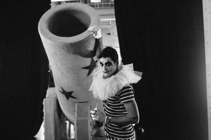 black and white, people, man, clown