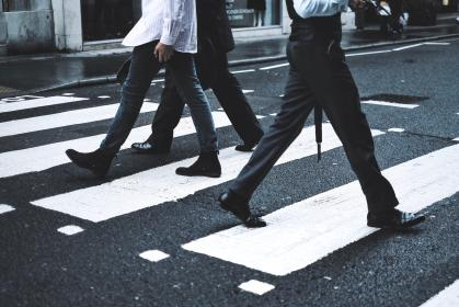 people, walking, men, work, city, road, pedestrian, crossing