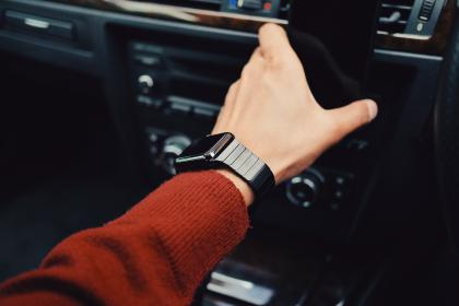 guy, man, male, arms, wristwatch, hold, smartphone, car, vehicle, selfie, still, bokeh