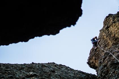 blue, sky, hill, rock, cliff, people, man, climbing, rappelling, adventure, outdoor, sport, rope