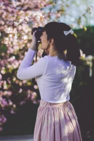people, girl, woman, alone, fashion, clothing, nature, plant, outdoor, flowers, petal, bokeh, blur, camera, photographer, travel