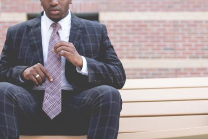 blazer, man, guy, necktie, ring, african american, bricks, wall, bench, chair, suit, people, business, male